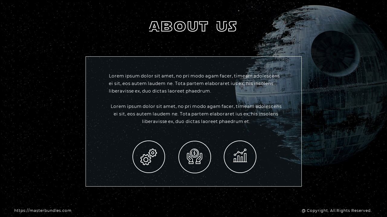 Slide on starry background with text box in white frame in the middle, and thematic round icons.