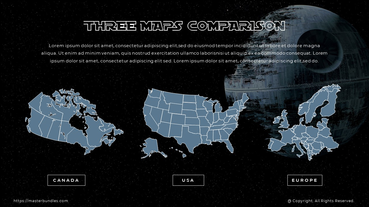 3 gray and blue maps with country captions under each, and text above the maps.