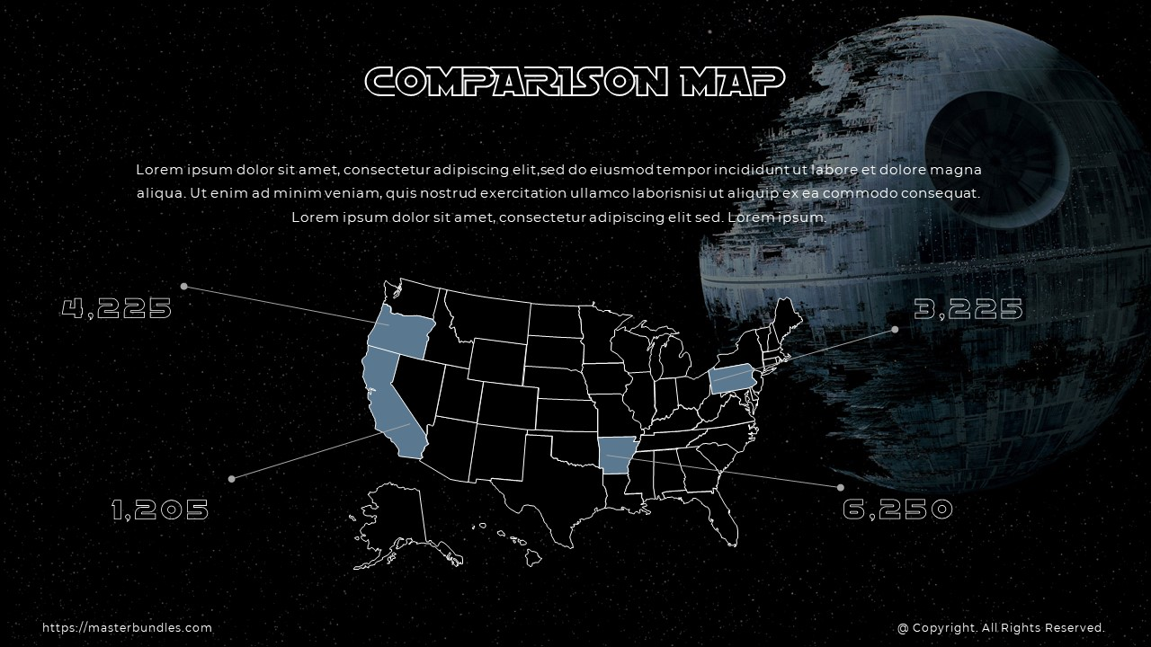 Black and gray country map on starry background with marks on it, and text box at the top.
