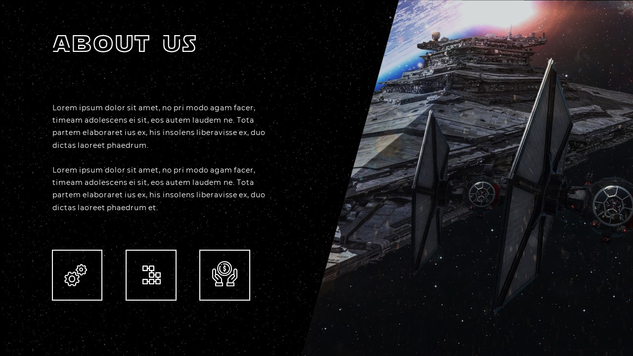 Spaceship image from Star Wars on the right, and 3 text boxes in square white box with text on top.