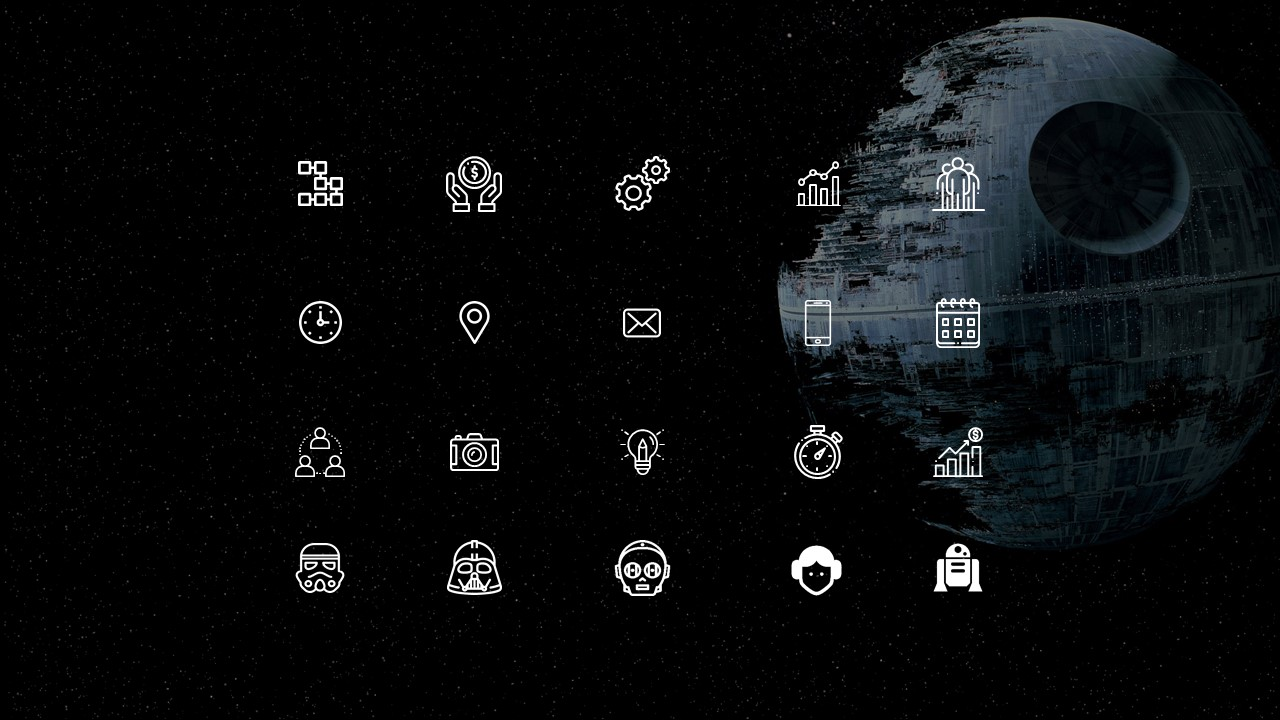 20 thematic icons that are used in Star Wars PowerPoint presentation.