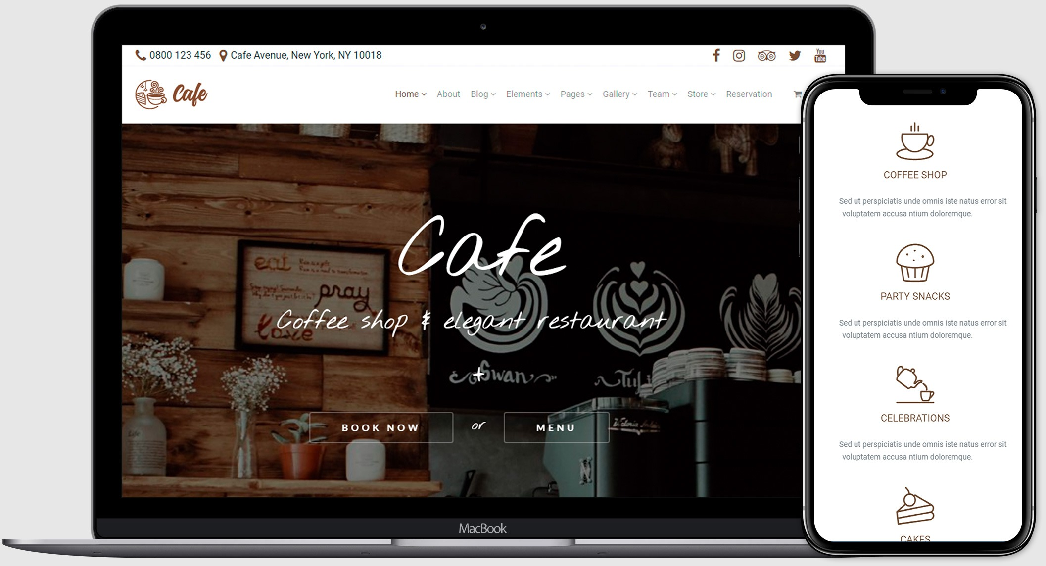 Cafe WordPress Theme - $25 - cafe preview visualmodo product page