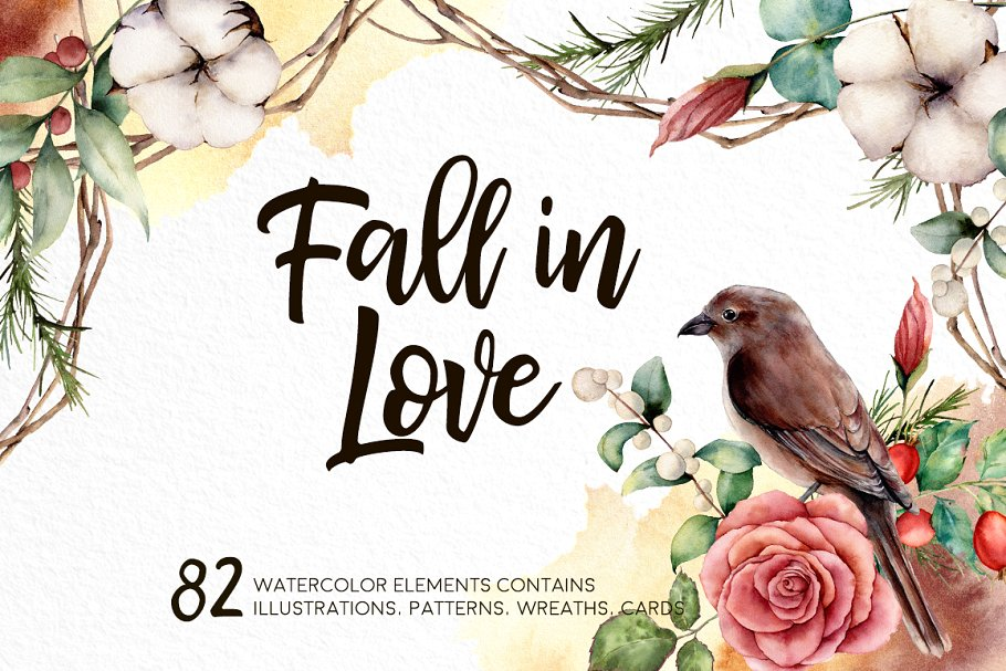 Fall in Love Watercolor bundle - $16 - 01 1 1