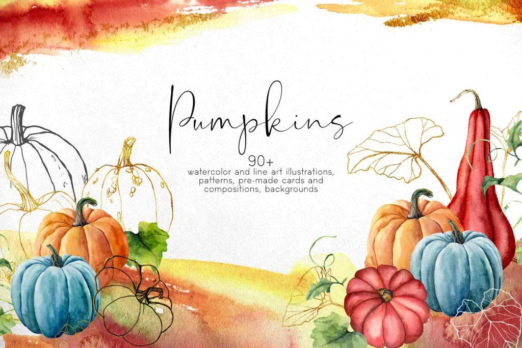 Watercolor Pumpkins Bundle - $12 - 01 min 1