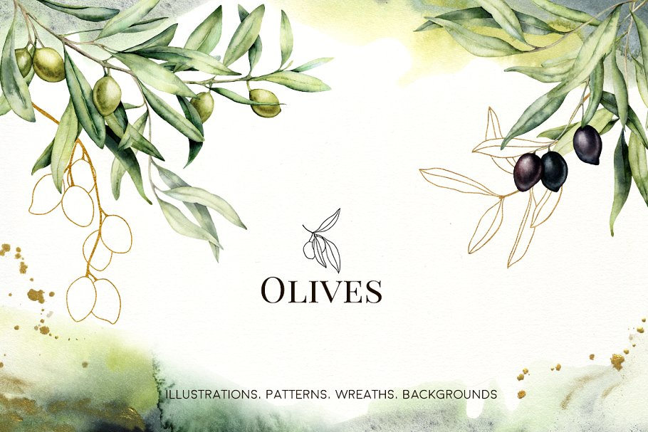 Olives Watercolor Collection - $15 - 01 6