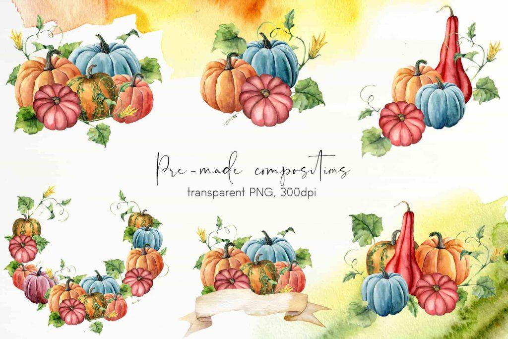 Watercolor Pumpkins Bundle - $12 - 05 min 1