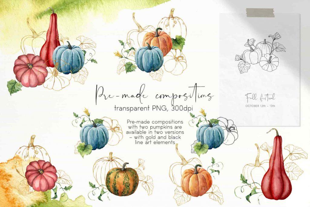 Watercolor Pumpkins Bundle - $12 - 06 min 1
