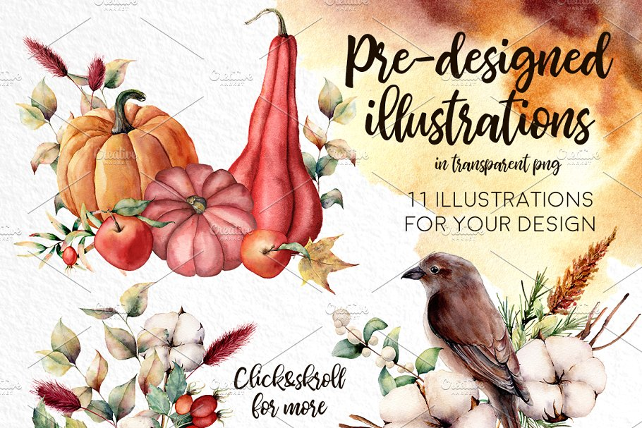 Fall in Love Watercolor bundle - $16 - 07 1 1
