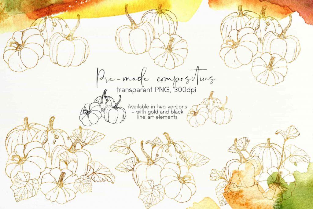 Watercolor Pumpkins Bundle - $12 - 07 min 1