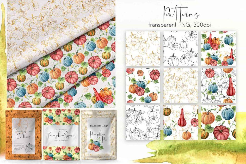 Watercolor Pumpkins Bundle - $12 - 09 min 1