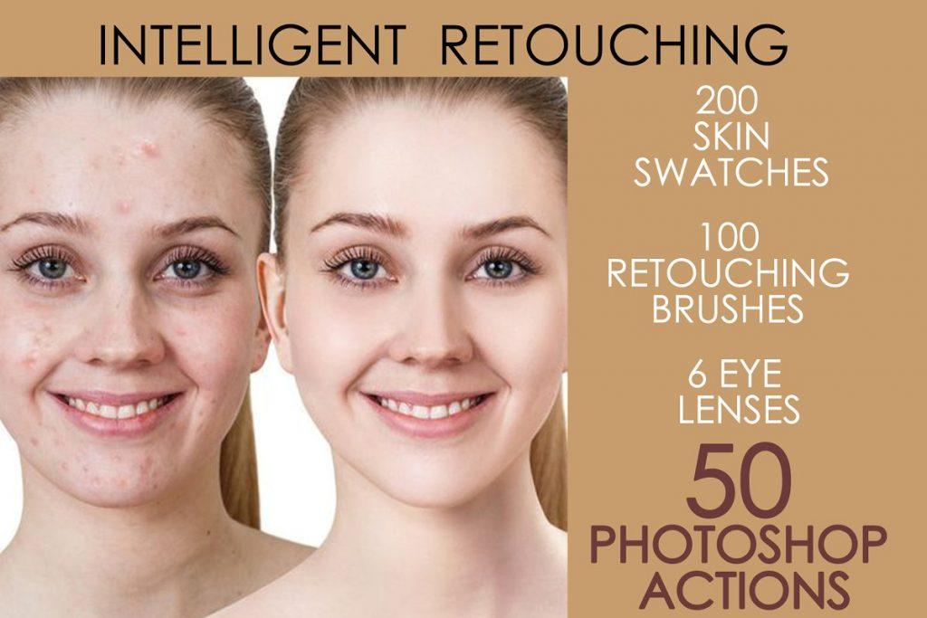 50 Photoshop Actions Retouching Skin BUNDLE, Swatches, Brushes - 1 1 4