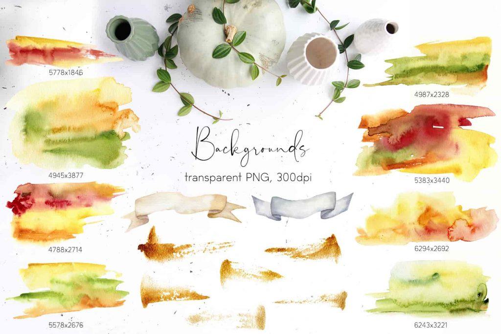 Watercolor Pumpkins Bundle - $12 - 10 min 2