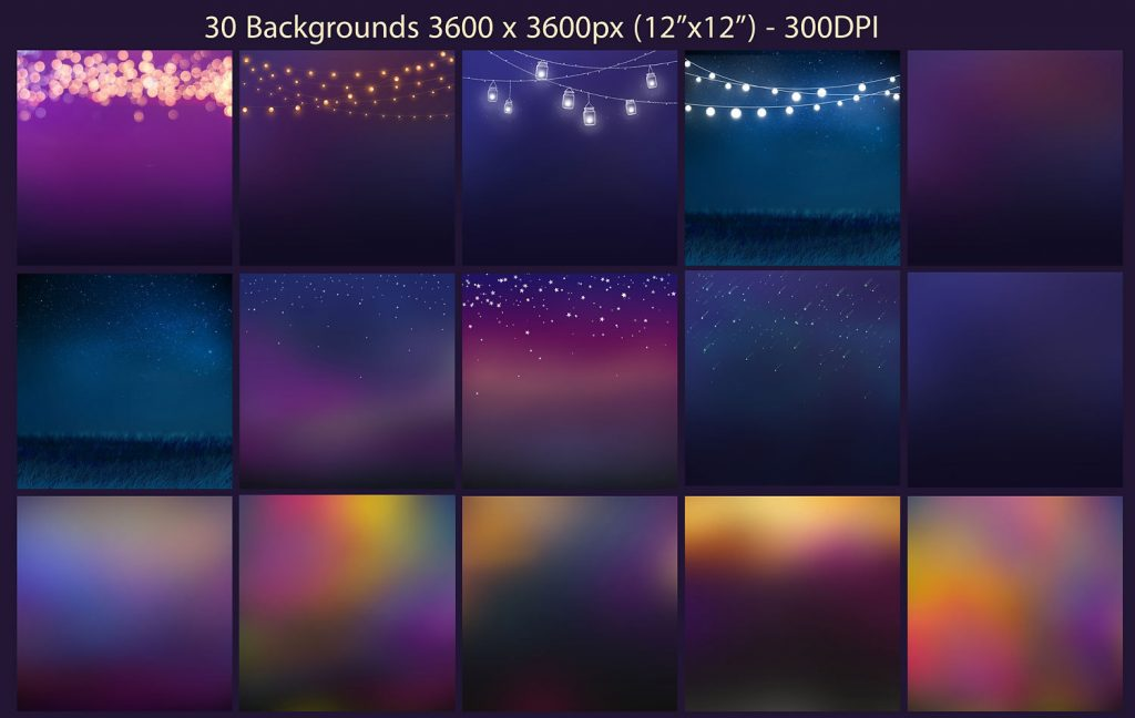 20 String Lights Clipart +30 backgrounds - $8 - 2 3