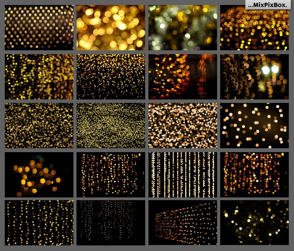 100 Golden Lights Photo Overlays - $9 - 2 5