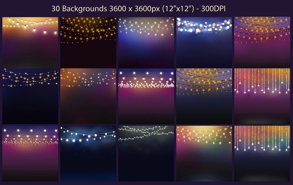 20 String Lights Clipart +30 backgrounds - $8 - 3 3