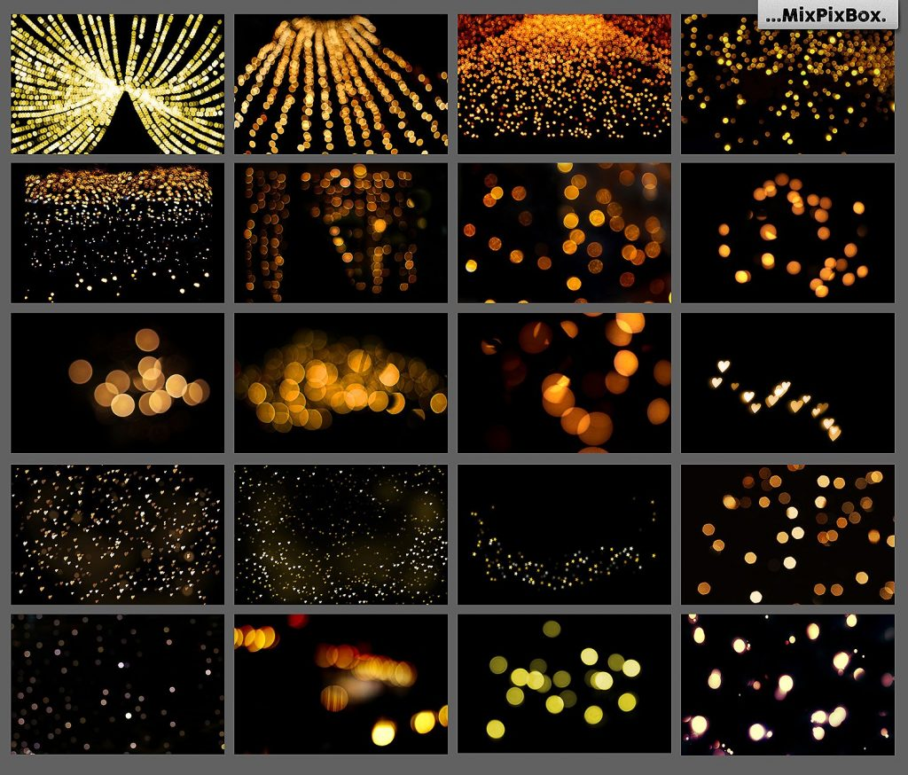 100 Golden Lights Photo Overlays - $9 - 4 4