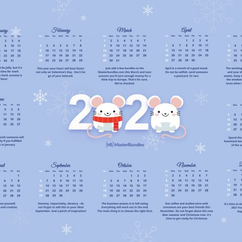 Free Printable Calendar Template for 2020 - 600 11 490x490