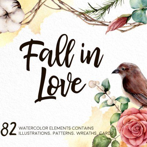 Fall in Love Watercolor bundle - $16 - 600 13 490x490