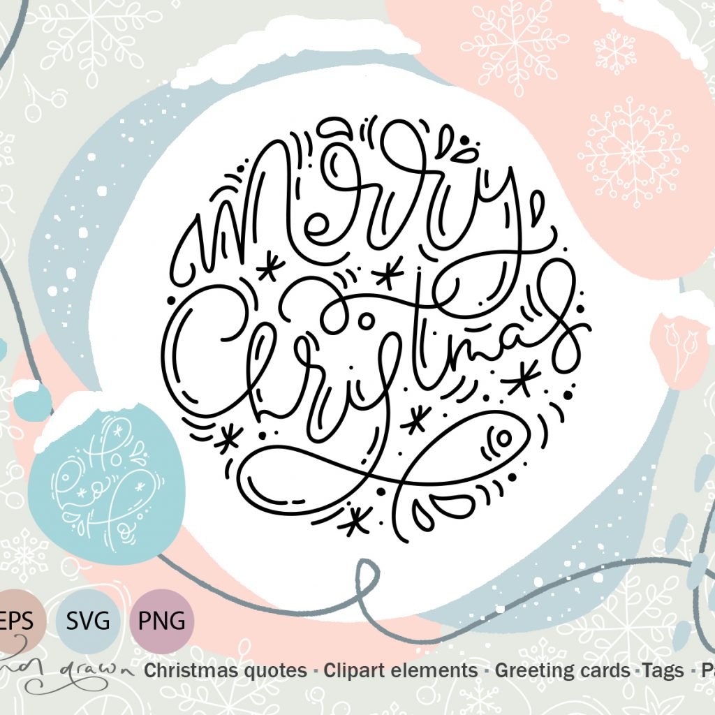 Merry Christmas Lettering: Christmas Draw Lettering Objects - 603