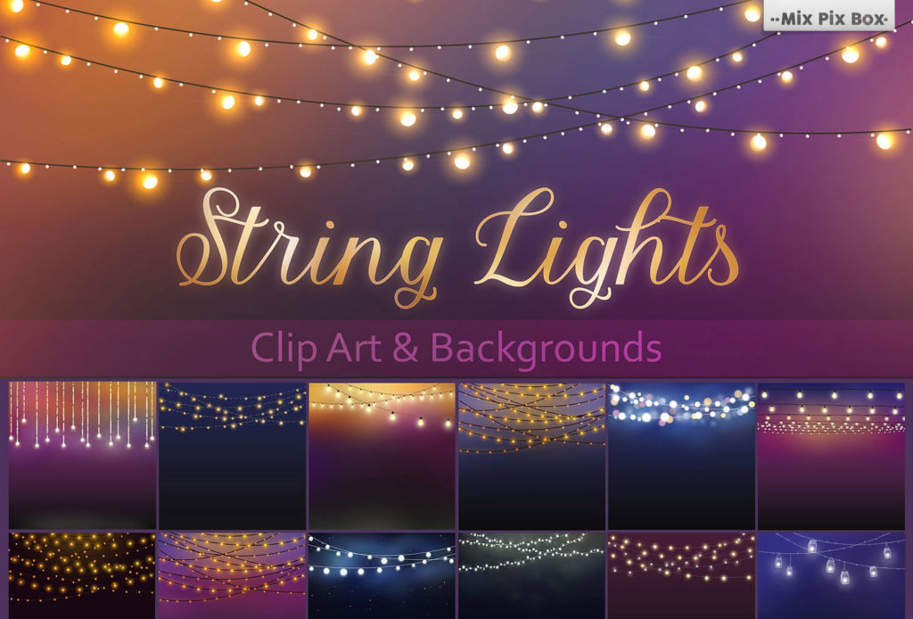 20 String Lights Clipart +30 backgrounds - $8 - string lights bundle photo overlays 1024x694