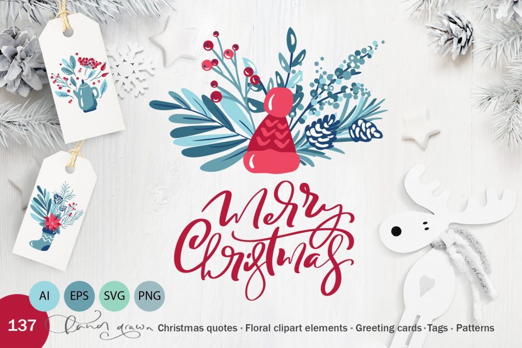 Christmas Floral Holiday Elements - $9 - title01