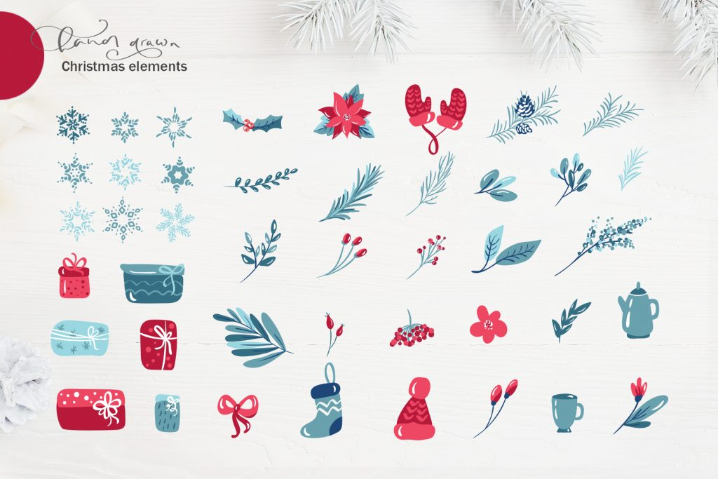 Christmas Floral Holiday Elements - $9 - title04