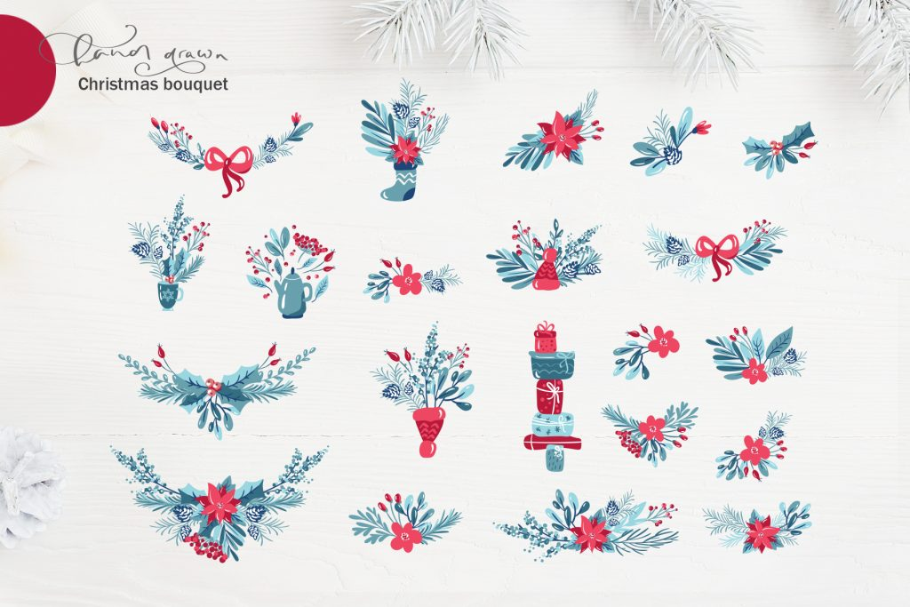 Christmas Floral Holiday Elements - $9 - title05