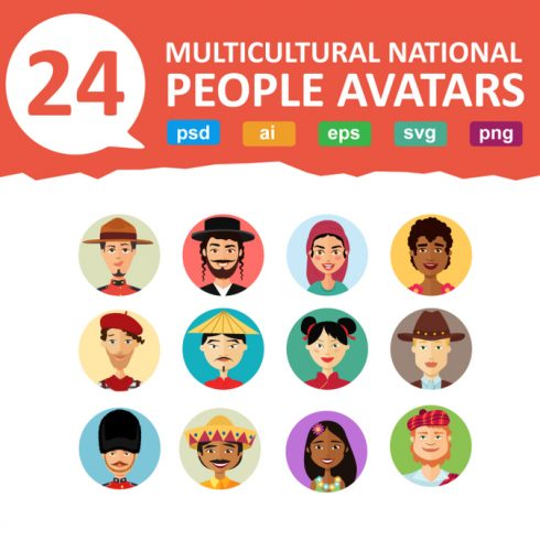 24 Multicultural National Avatars People Cartoon Flat - 600 12 490x490