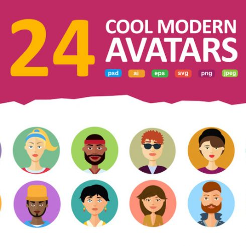 Vector Avatars Cartoon People Friends Set - 600 16 490x490