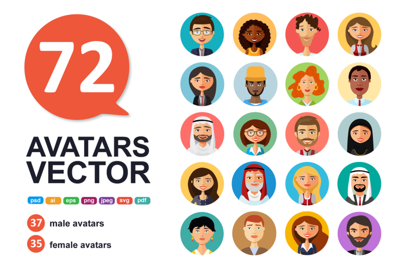 72 Avatar People Vector Icons Collection - Only $23! - 800 3670784 yw1rhrto5873m3obedmb8a6ocfj04wx8oz1kyju5 72 avatar icons vector people collection