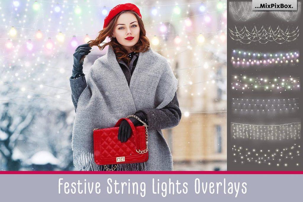 Huge Photo Editing Bundle - festive string lights first image
