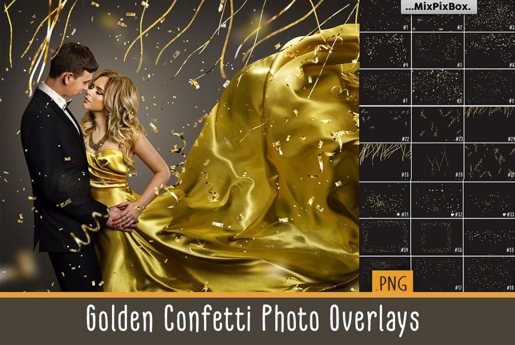 Huge Photo Editing Bundle - golden confetti first image