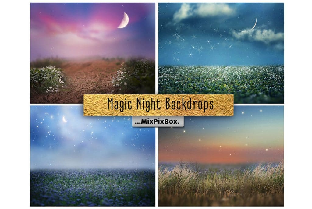 Huge Photo Editing Bundle - magic night backdrop first image