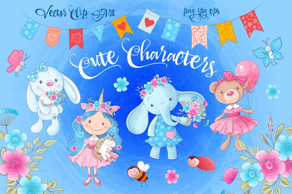 Cute Characters – Vector Clip Art - $14 - 1 1