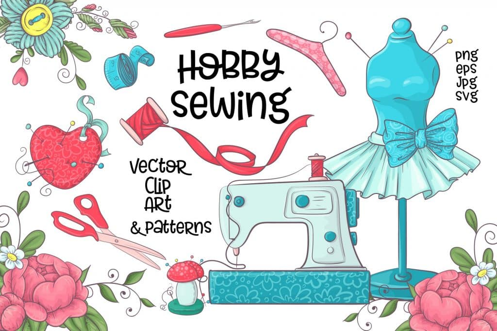 Hobby Sewing Vector Clipart - $24 - 1 12