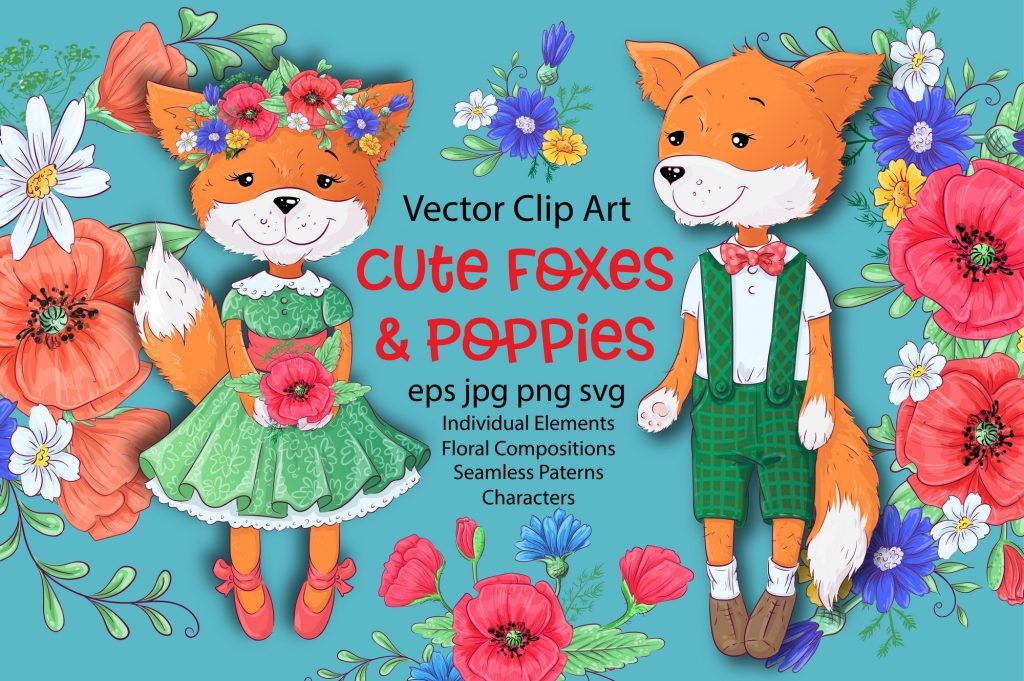 Poppies Clipart & Fox vector - $12 - 1 3