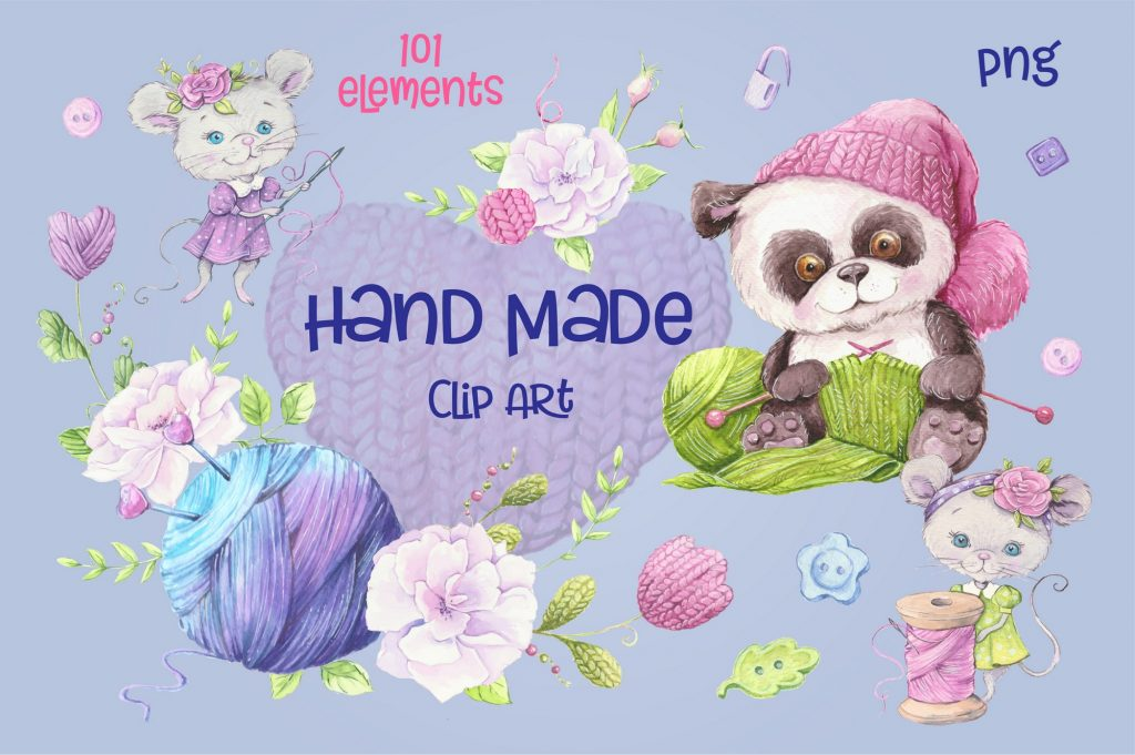 Hand Made Watercolor Clip Art - 1 4