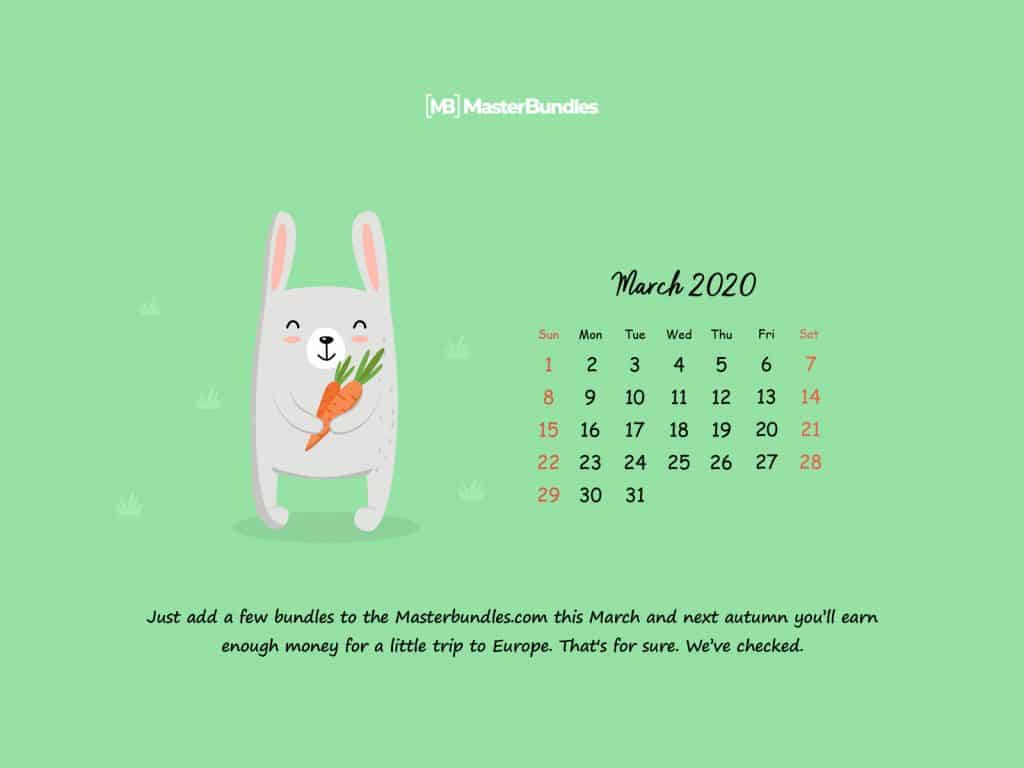 Free March 2020 Printable Calendar & Wallpapers - 1600×1200
