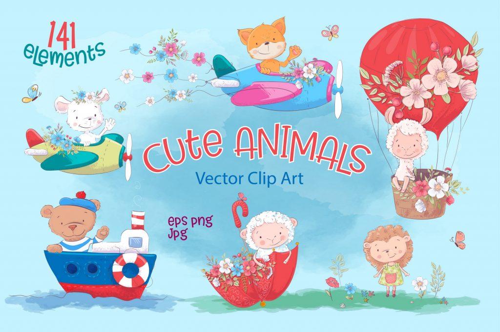 Cute Animals Vector Clip Art - $17 - 1prw