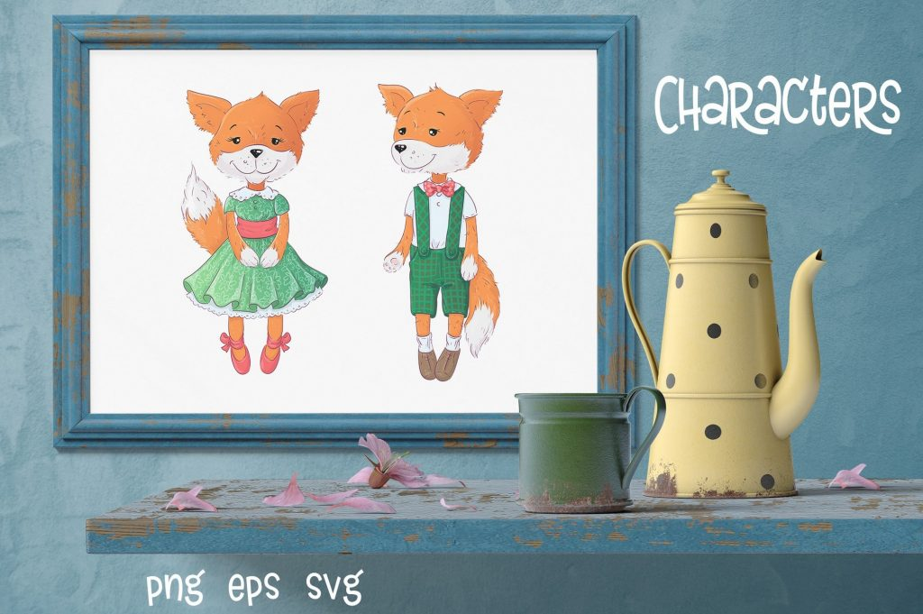Poppies Clipart & Fox vector - $12 - 2 3