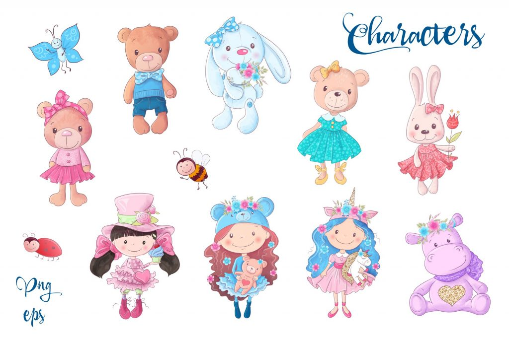Cute Characters – Vector Clip Art - $14 - 3 1