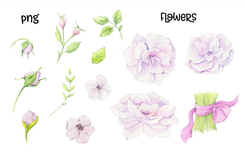 Hand Made Watercolor Clip Art - 3 4