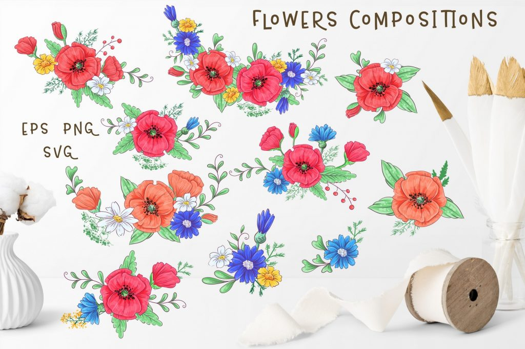 Poppies Clipart & Fox vector - $12 - 4 2