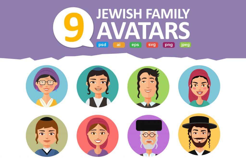 Jewish Avatars Family Cartoon Flat - $6 - 44746ae181064e046e919d3aabea354c resize 1