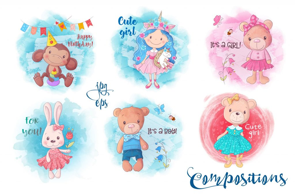 Cute Characters – Vector Clip Art - $14 - 6 1