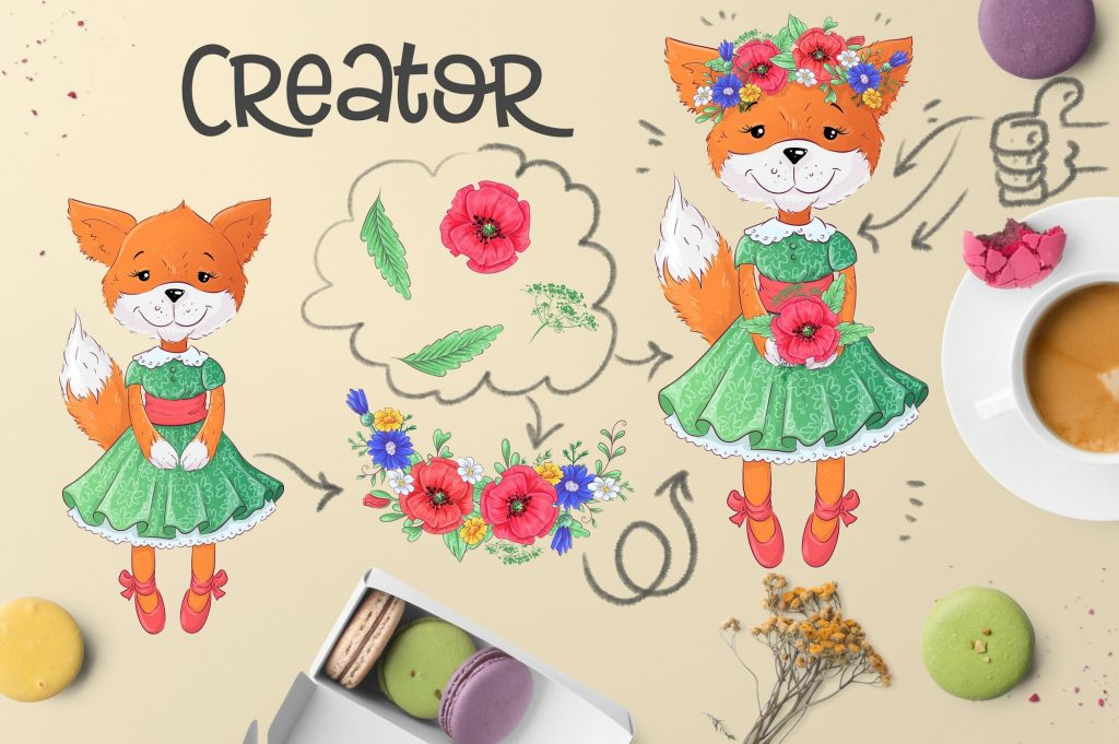 Poppies Clipart & Fox vector - $12 - 6 2