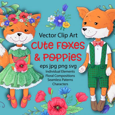 Cute Foxes and poppies - vector clip art - $12 - 600 2 490x490