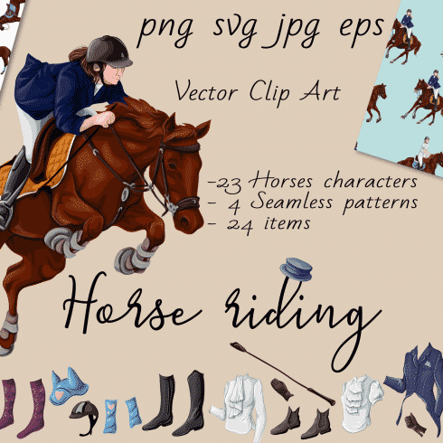 Horse Riding Vectors: patterns, cards and items - $18 - 600 490x490