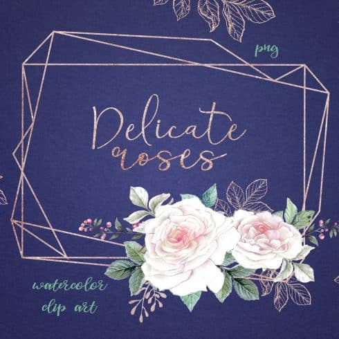 Delicate Roses Watercolor Clip Art - $15 - 600 5 490x490