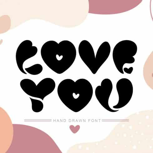 Best Font With Hearts. Love You Hand Drawn Valentine Font - $10 - 600 8 490x490